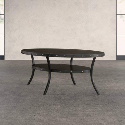 Wood Coffee Table With Curved Legs   Oval Coffee Table With 1 Shelf    Espresso