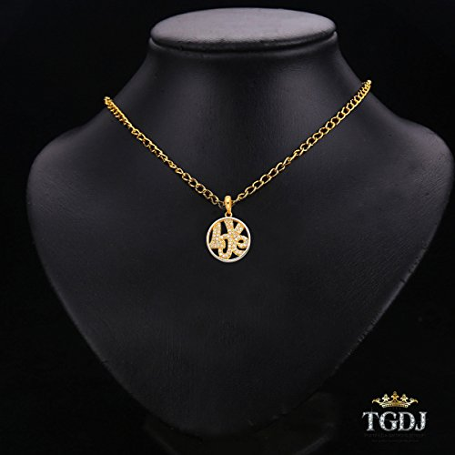 14k Yellow Gold ''LOVE'' CZ Pendant Avg. Weight 1.6 grams Diameter 15 MM by Top Gold & Diamond Jewelry (Image #1)