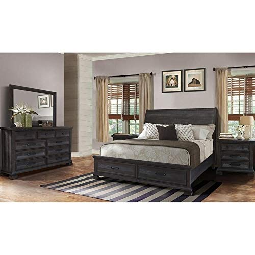 Best Master Furniture Kate 5 Pcs Transitional Bedroom Set, Cal. King, Grey