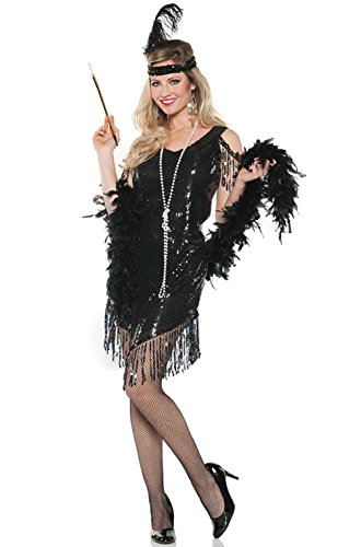 Swingin' Flapper Costumes (1920's Swingin Flapper Women Adult Costume (Black))