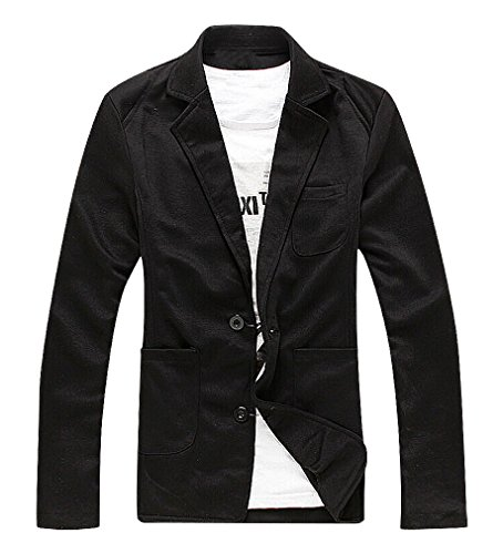CELINO Men's Soft Flexible Gray Black Slim Fitting 2 Buttons Cotton Suit Jacket