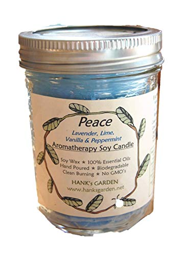 Scents Soy Candle Garden (Hank's Garden PEACE Aromatherapy Soy Wax Candle (8 oz jar with lid) - with Lavender, Lime, Vanilla & Peppermint Essential Oils - Biodegradable, ECO Friendly)