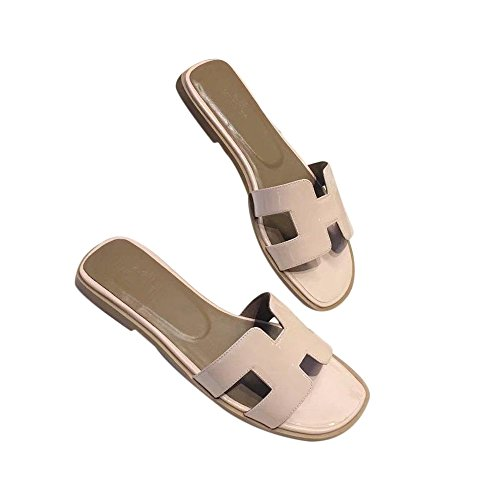 FT Women's Oran Flat Sandals H Type Leather Slippers Sliders Sandals Summer Casual Shoes Beach Slippers