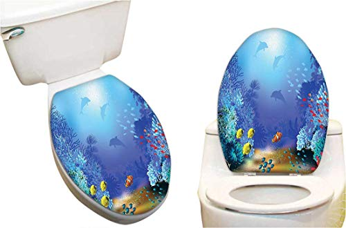 SeptSonne Toilet Cover Sticker Underwater Coral Reef Polyps Algae Dolphins and Goldfishes Bubbles Deep Print Blue Creative Toilet Cover Stickers 13