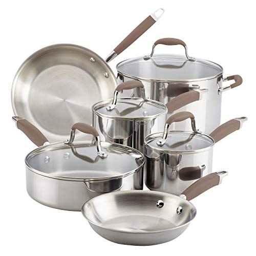 Anolon Tri-Ply Bronze Stainless Steel Cookware Set, 10-Piece