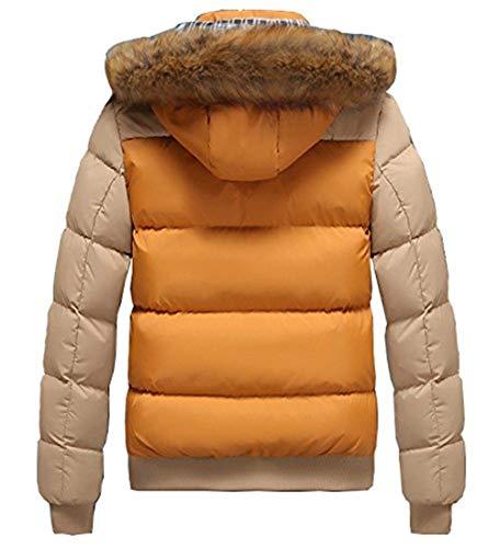 Coat Jacket Long Down Hooded Thick Coat Winter Warm Alternative Outwear Apparel Jacket Brownkhaki Sleeve Lightweight Down Cotton Men's vnXz00