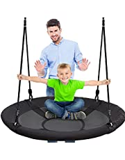 Serene Life Outdoor Spinner Saucer Tree Swing - Hanging Tree Round Circular Flying Saucer in Rope Straps with Cushion Padded Metal Frame, Polyester Fabric Seat, Great for Kids, Adult - SLSWNG100, black, large