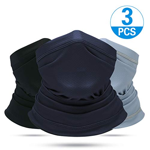 Venswell Summer Face Mask, Dust Sun UV Protection Neck Gaiter, Breathable &Elastic Face Scarf Mask, Multiple Cool Bandana for Fishing Hiking Cycling Riding (3 pcs-Black+Gray+Dark Blue)