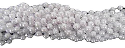 33 inch 7.5mm Round Pearl White Mardi Gras Beads - 6 Dozen (72 necklaces)