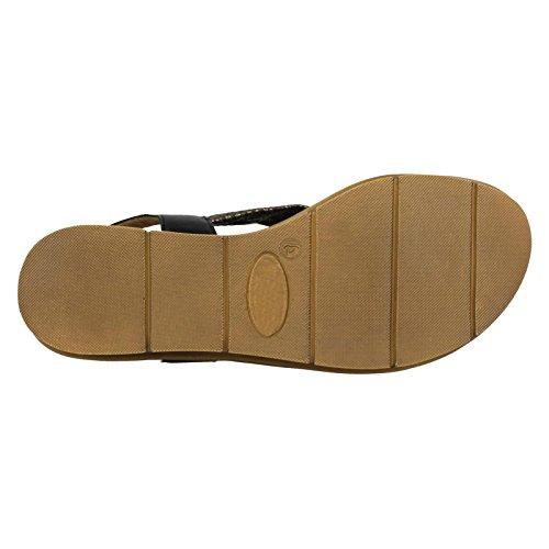 Kolleksjonen Slingback Lær Dame Sort Flat Sandaler 7qn4xUwg