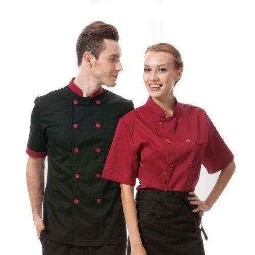 Chef Coat Black with red Uniforms Short Sleeve Chef Jacket Unisex