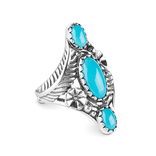 (American West Sterling Silver Sleeping Beauty Turquoise Gemstone Floral Leaf Elongated Ring Size 08)