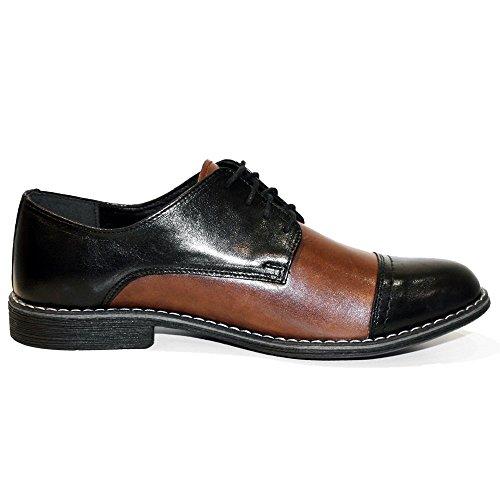 PeppeShoes Modello Trumonico - Handgemachtes Italienisch Leder Herren Braun Oxfords Abendschuhe Schnürhalbschuhe - Rindsleder Weiches Leder - Schnüren