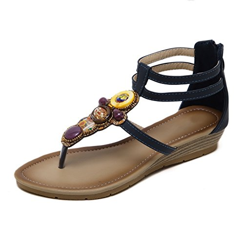 SLC04005 Sandals Hiking Urethane Fashion Studded AdeeSu Womens Darkblue gOYqf