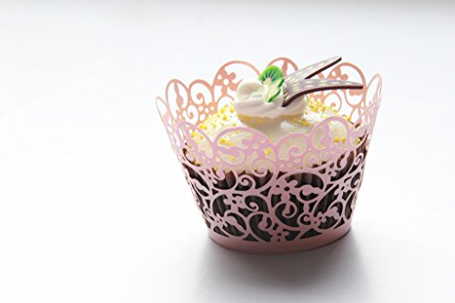 Kuke 24 pcs Twist Flower Lace Laser Cut Cupcake Wrappers Cupcake Liners Muffin Container for Baby Shower Baby Birthday Christening or Wedding Party Cupcake Decoartion (Pink)