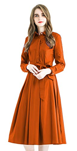 Zredurn Women's Elegant Pleated Shirt Dress with Long Sleeve Pleated Belted A-Line Dress Style (Orange, M)