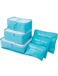 KINGMAS 6pcs Packing Cubes Travel Organizer Luggage Compression Pouches (Blue)