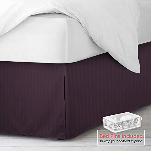 """Nestl Bedding Damask Dobby Stripe Bed Skirt with Duvet Cover 4 Piece Set - Luxury Microfiber Duvet Cover with 2 Pillow Shams - 14"""" Tailored Drop Bed Skirt - 8 Bed Skirt Pins Included - King, Purple"""