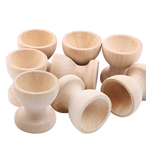 SHAN RUI 15pcs Wooden Egg Holder Stands Unpainted Easter Egg Cups for DIY Painting Easter Crafts ()