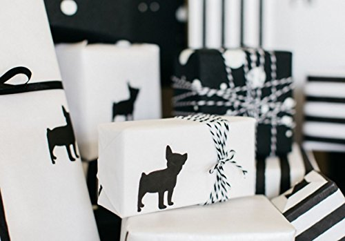 Marble+Vine BEST LUXURY COTTON GIFT WRAP: BLACK & WHITE FRENCH BULLDOG PREMIUM (SET OF 2 ROLLS) - Luxury Wrapping Paper
