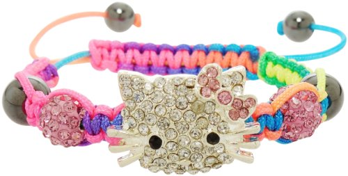 Bracelet - Crystal Encrusted Kitty Face with Pink Shamballa Beads - Kiki's Colorful Kitty in Pink