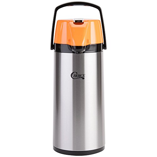 TableTop King 2.2 Liter Glass Lined Stainless Steel Decaf Airpot with Orange Lever