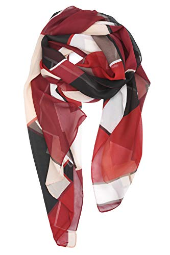 YOUR SMILE Ladies/Women's Lightweight Floral Print/Solid Color mixture Shawl Scarf For Spring Summer season (Check/Red Black)