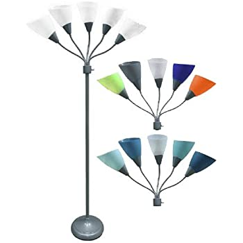 Five Head Spider Floor New Lamp With 14 Changable Shades Silver Finish Adjustable Heads With