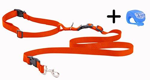 Running Dog Leash Hands Free - Including LED Light. Great for Walking, Running, Biking and Jogging (Black, Red, Blue, Orange, Pink)). (Orange)