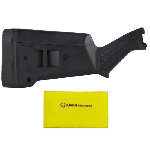 Magpul Industries MAG 460 SGA Stealth Black BLK Remington 870 12 Gauge Shotgun Buttstock Kit w/ Rubber Recoil Butt Pad + Ultimate Arms Gear Lubricated Cleaning Cloth (Remington Mag 870)