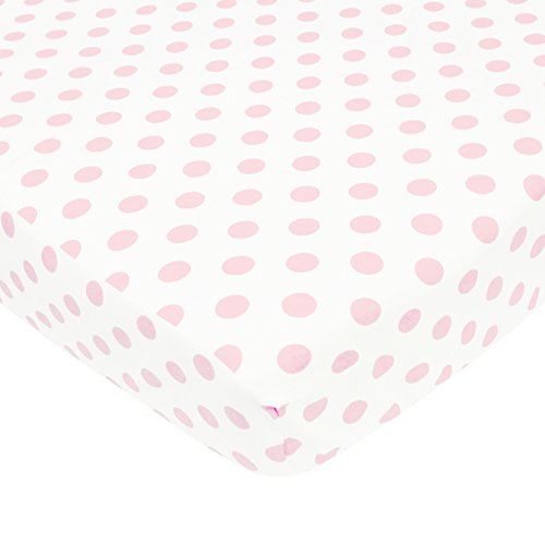 TL Care 100% Cotton Percale Fitted Crib Sheet for Standard Crib and Toddler Mattresses,  White with Pink Dot, 28
