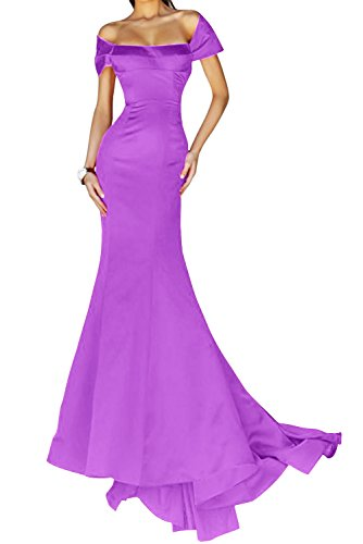 Satin Lang Lila Packung Festkleid Hell Mermaid Schulter Gorgeous Abendmode Abendkleid Bride Stil Elegant UqFw0nE
