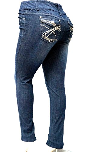 3f9ebd8f06e3f BE BY HAILEY DARK BLUE HIGH WAIST WOMEN S PLUS SIZE denim jeans SKINNY LEG  14-