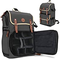 GOgroove Full-size DSLR Camera Backpack Case (Grey) for Photography and Laptop Travel Use w/Accessory Storage Room , Tripod Holder & Weatherproof Rain Cover for Sony a6000 , Canon EOS T6 , Nikon D5500