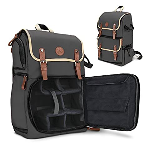 GOgroove Full-size DSLR Camera Backpack Case (Grey) for Photography and Laptop Travel Use w/Accessory Storage , Tripod Holder & Weatherproof Rain Cover for Sony a6000 , Canon EOS T6 , Nikon (Rebel Offroad)
