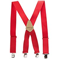 """Mens Suspenders 2"""" Wide Adjustable and Elastic Braces X Shape with Very Strong Clips - Heavy Duty (RED)"""