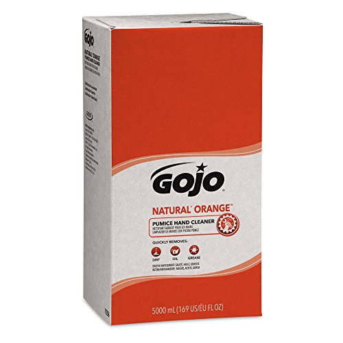 GOJO 7556 NATURAL ORANGE Pumice Hand Cleaner Refill, Citrus Scent, 5000mL, 2/Carton,Compatible with Dispenser #7500-01
