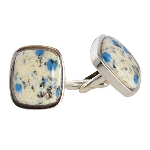 Ravishing Impressions Exotic K2 Blue Jasper Gemstone 925 Sterling Silver Handmade Cuff Links FSJ-1564