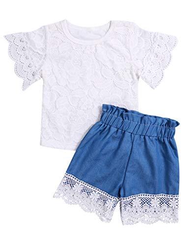 2Pcs Toddler Baby Girls Lace Top T-Shirts+Elastic Lace Trim Denim Shorts Pants Kid Summer Clothes(size80/1-2T) - Lace Trim Denim