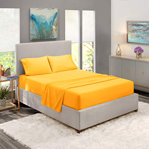 Nestl Bedding Soft Sheets Set – 4 Piece Bed Sheet Set, 3-Line Design Pillowcases – Easy Care, Wrinkle Free – Good Fit Deep Pockets Fitted Sheet – Full XL, Yellow