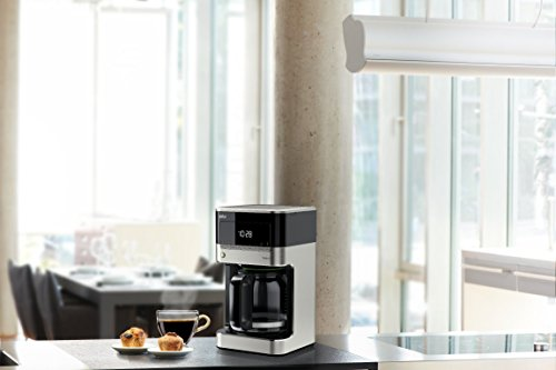 Braun KF7150BK Brew Sense Drip Coffee Maker, Stainless steel and black finish.