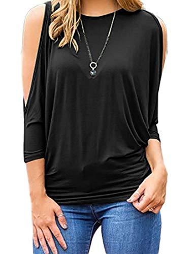 AbePa Women's Plus-Size Off The Shoulder Tops Summer T Shirts Loose Scoop Neck T-Shirt Black 4XL ()