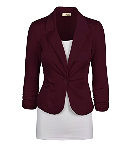 Women's Casual Work Office Blazer Jacket JK1131 Wine 1X Plus