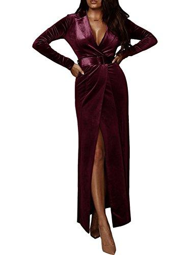 D Jill Women's Velvet Retro Sexy V Neck Wrap Maxi Dress Formal Evening Gown Belt Burgundy