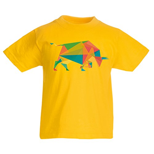 Funny t shirts for kids Fashion Bull (3-4 years Yellow Multi Color)