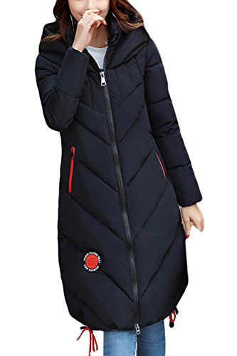 Con Capucha Estilo Black Con Invierno Largo Parkas BF Cordon De Acolchado Mujer Outwear wAAvT1