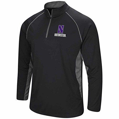 Colosseum Northwestern Wildcats Adult NCAA 1/4 Zip Windshirt - Black, Medium