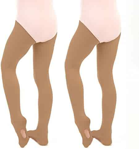 442295ae8d6a2 Silky Toes Girls' Ballet Dance Transition Tights Ultra-soft Convertible Pro  (2 Pack