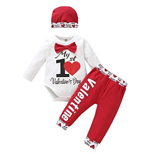 LUCSUN 3 Stks Pasgeboren Baby Jongens Meisjes Mijn Eerste Valentijnsdag Outfit Lange Mouw Romper+Hartdruk Broek+Hoed…