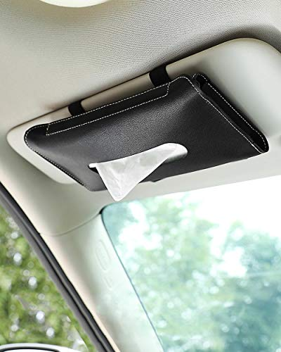 Car Tissue Holder, Sun Visor Napkin Holder, Car Tissues Box, PU Leather Backseat Tissue Case for Car Tissue Refill Supplies, Vehicle